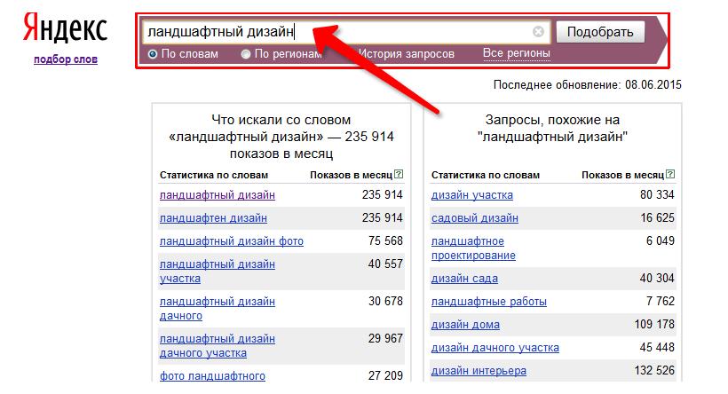 просмотр статистики поисковых запросов Яндекс Wordstat